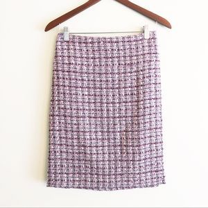 Tahari tweed plaid pencil skirt purple size 16 NEW